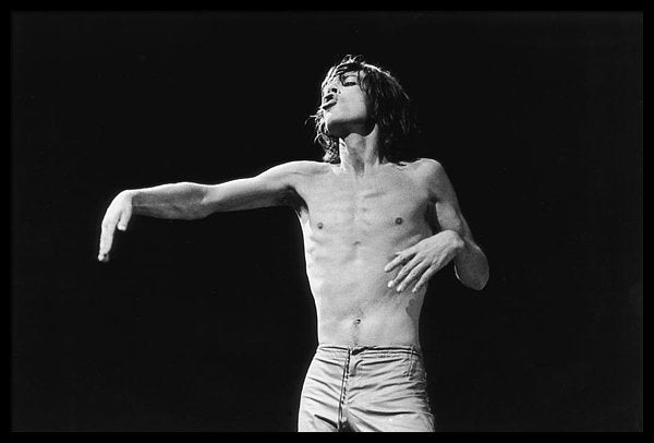 Singer Mick Jagger on stage headlines the Knebworth Festival.