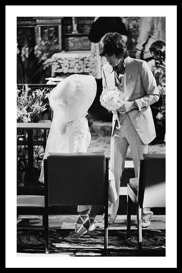 Mick and Bianca Jagger at their wedding at the Church of St. Anne