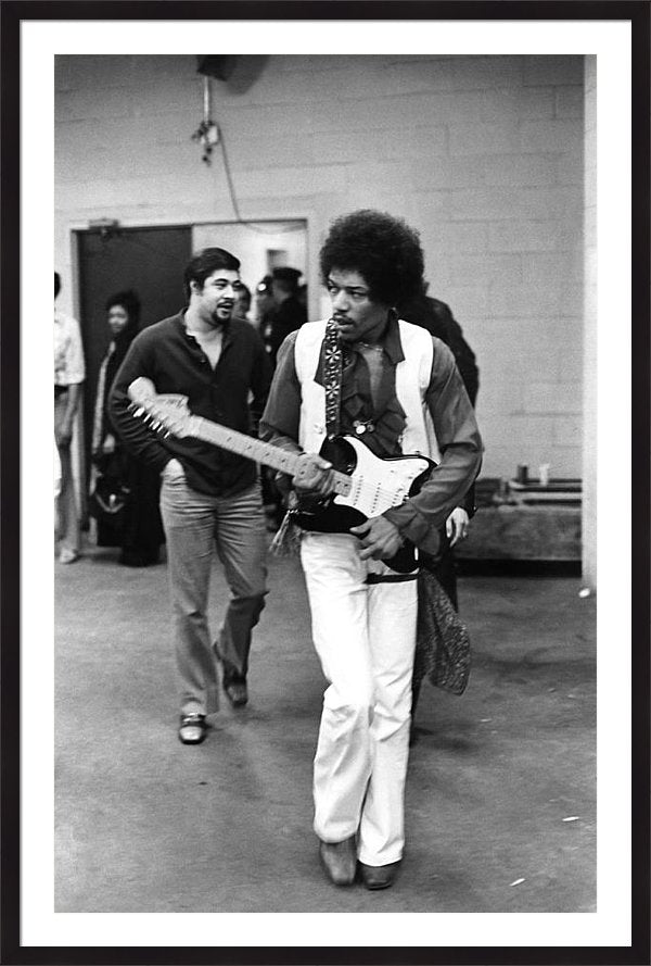 Jimi Hendrix approaches the stage Print