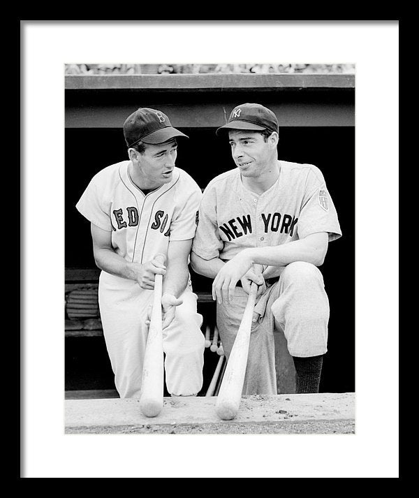 Joe Dimaggio And Ted Williams Framed Print