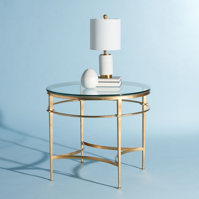 Liza Round Antique Gold Glass Side Table