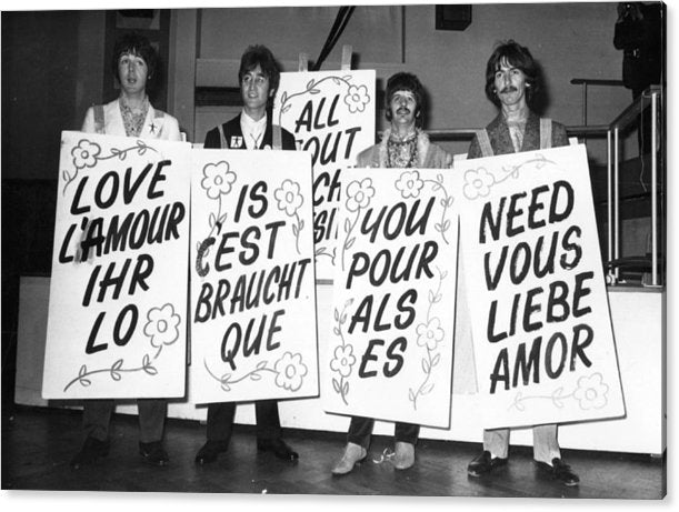 The Beatles sporting multi-lingual 'Love Is All You Need' Acrylic Print