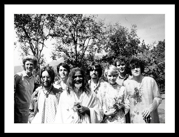 Maharishi Mahesh Yogi with members of the Beatles and other famous followers