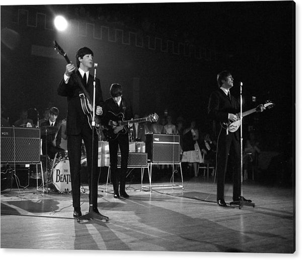The Beatles pop group performing on stage during a concert in 1963. Acrylic Art