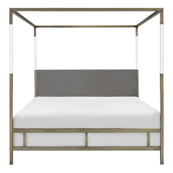 Aspen Acrylic Canopy Queen Bed Gold / Grey