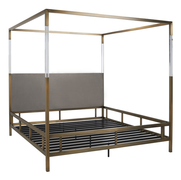 Aspen Acrylic Canopy King Bed Gold / Grey