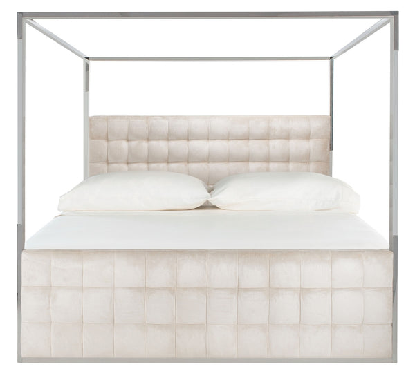 Jessamine Velvet King Bed Bella White