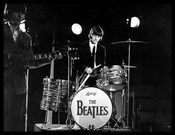 Ringo Starr And His Drumset In The 1960s Framed Print