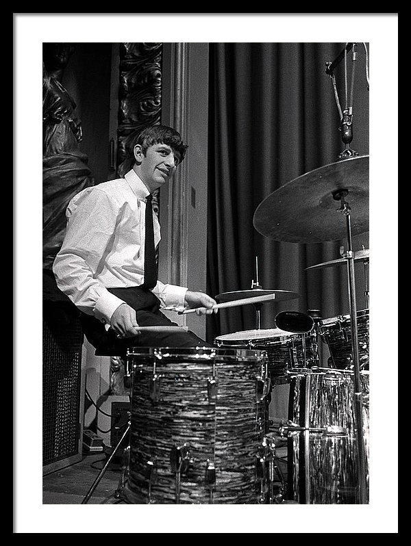 The Beatles pop group, at his drum kit during rehearsals in 1963