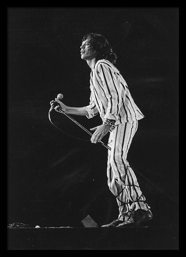 Mick Jagger performs onstage in 1975 in San Francisco