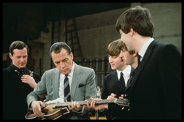 The Beatles, and their manager Brian Epstein American TV host Ed Sullivan