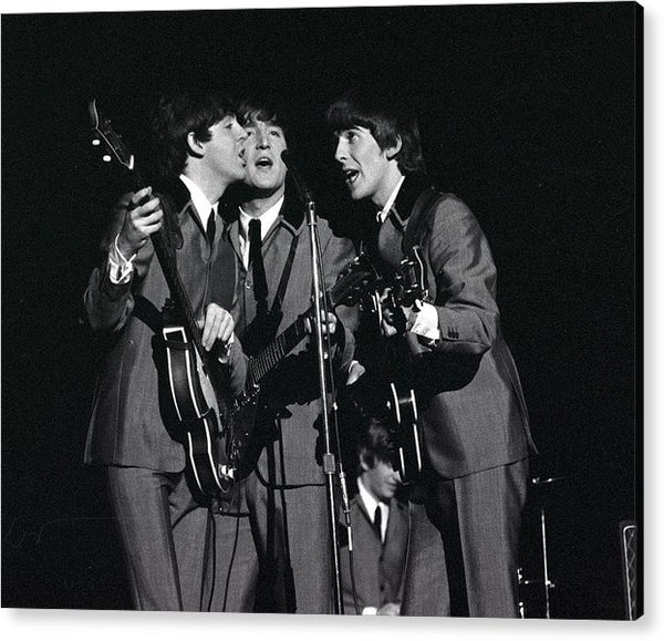 The Beatles 1964 US Tour, L-R: Paul McCartney, John Lennon and George Harrison