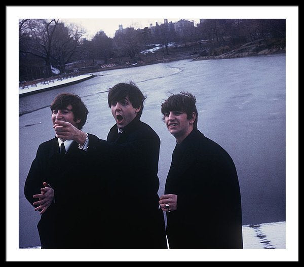 The Beatles in Central Park at the boat house