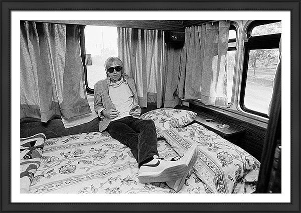 Tom Petty Poses In His Tour Bus Framed Print