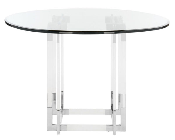 "Mayne 42"" Acrylic Dining Table Silver"