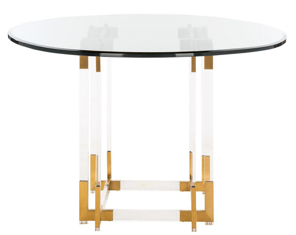 "Mayne 42"" Acrylic Dining Table Brass"