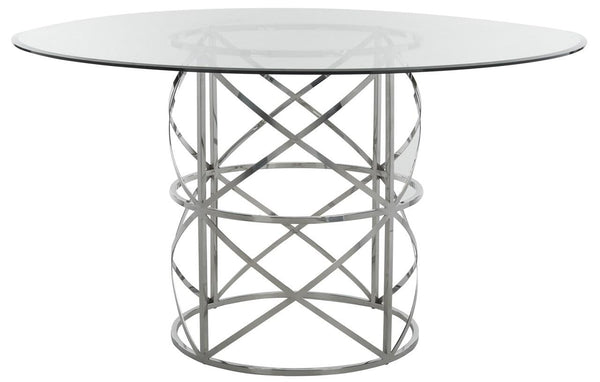 "Zenith 54"" Chrome Round Glass Top Dining Table"