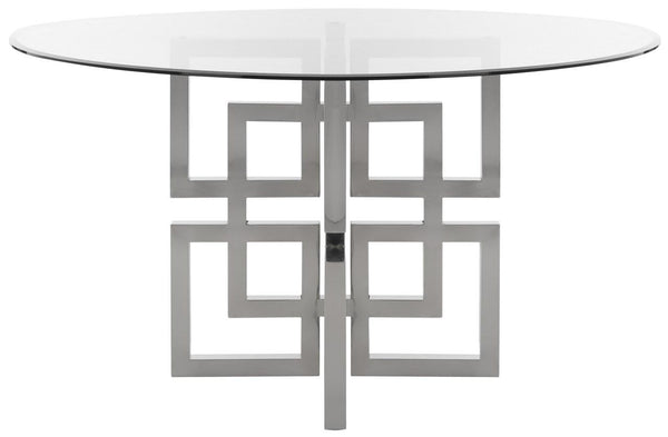 "Swanee 54"" Chrome Round Glass Top Dining Table"
