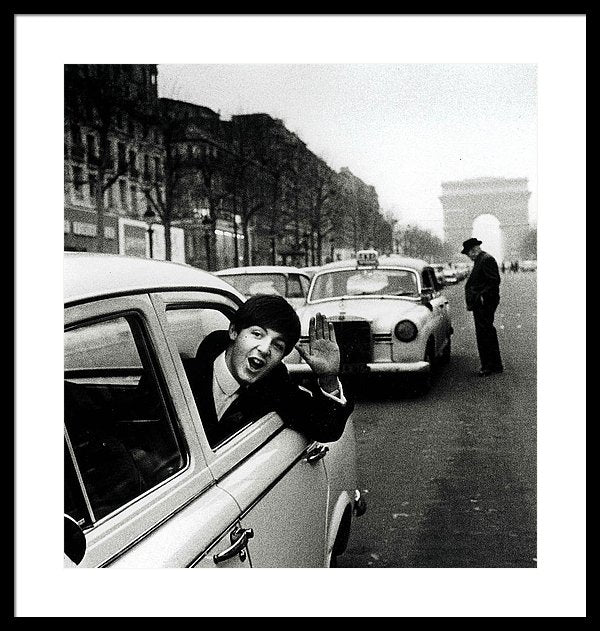 The Beatles, January 1964, Paul McCartney waves from a taxi