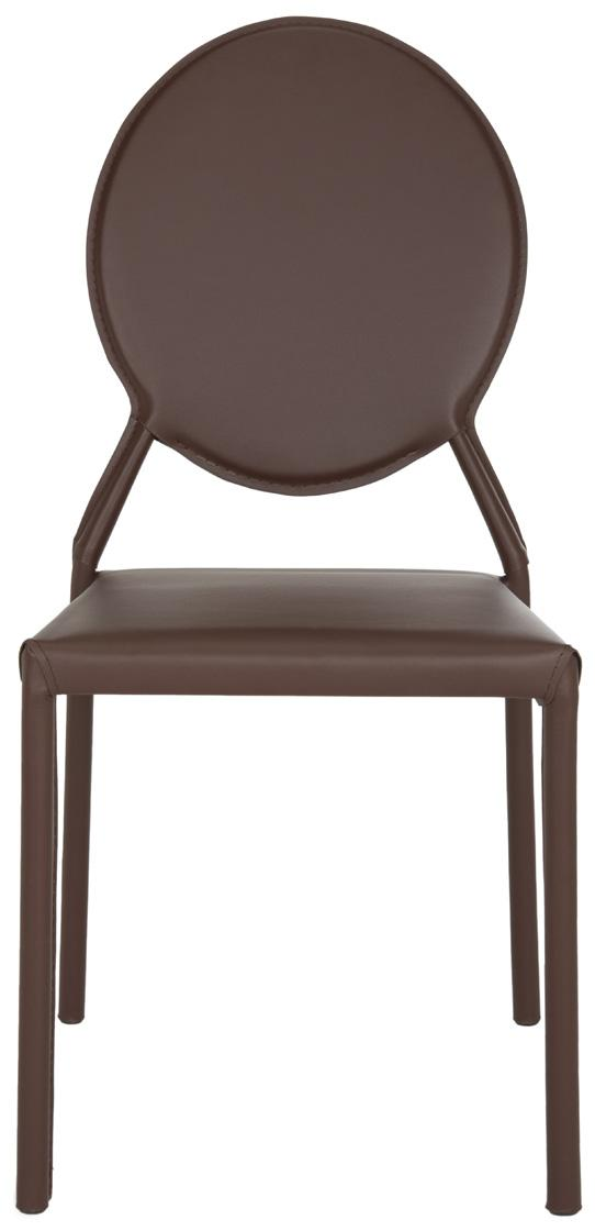 Racey 37''h Round Back Leather Side Chair Brown