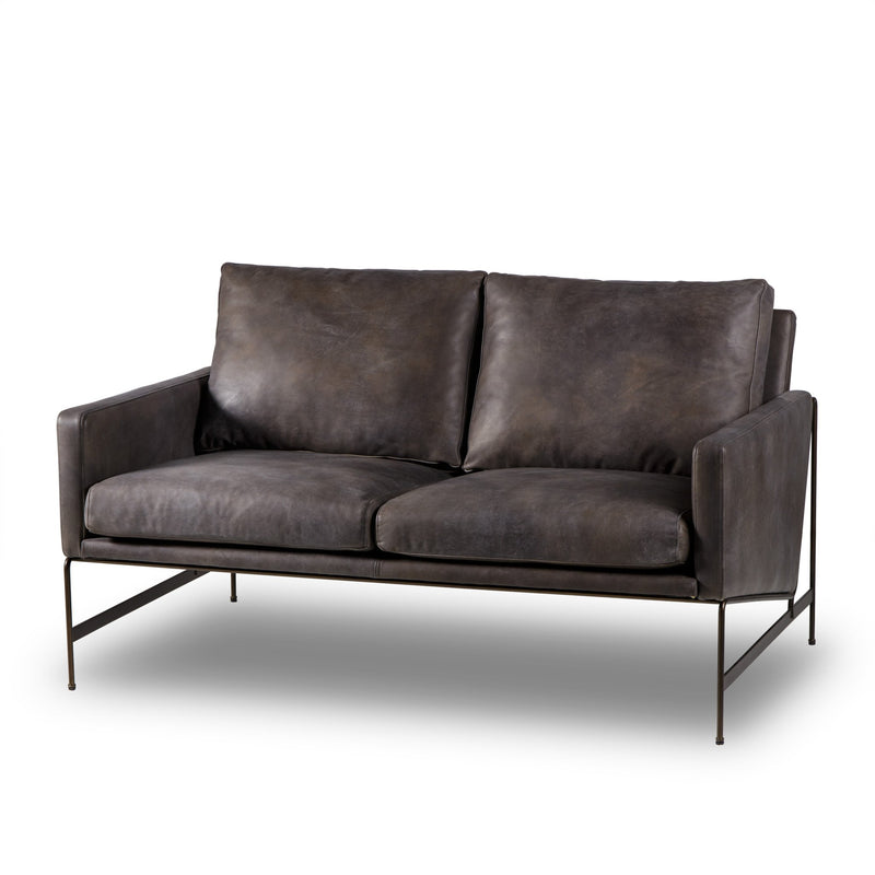 Johnathan 2 Seater Sofa Destroyed Black Leather