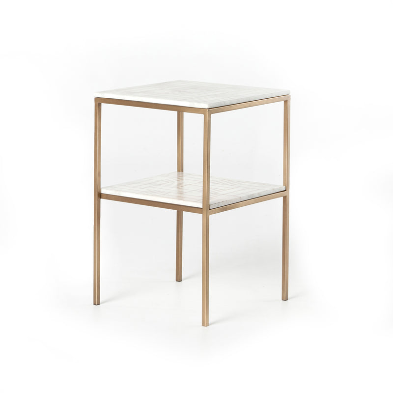 Chelsea Marble Nightstand Antique Brass