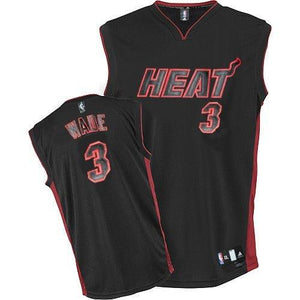 newest 91122 eca33 Men's Miami Heat #3 Dwyane Wade Authentic Black Black/Red No. Jersey