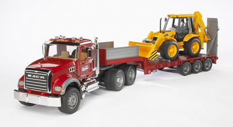 Bruder - Mack Granite Flatbed Truck with JCB Loader Backhoe
