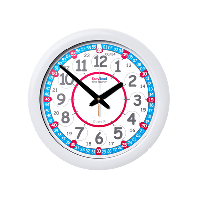 Easy Read - Wall Clock - 24hr - Red/Blue