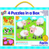 Galt - 4 Puzzles in a Box - Vehicles & Farm