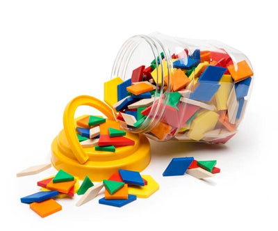 Edvantage - Plastic Solid Pattern Blocks Jar of 250