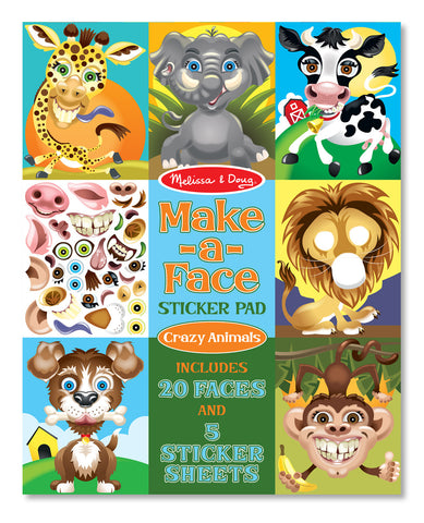 Make - A - Face Crazy Animals Sticker Pad