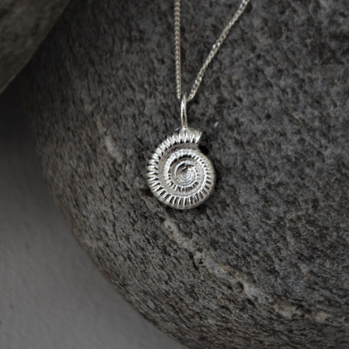 Silver Ammonite Shell Necklace