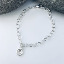 Load image into Gallery viewer, Silver Ammonite Chain Bracelet