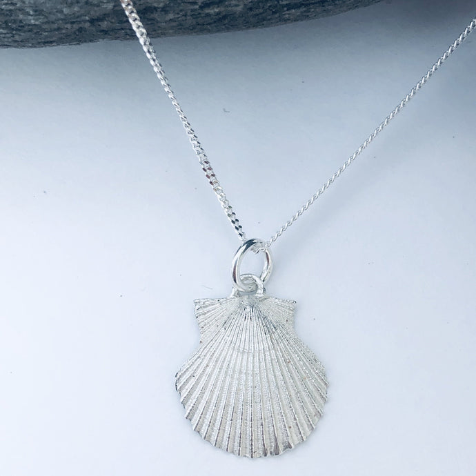 Silver Cornish Scallop Necklace