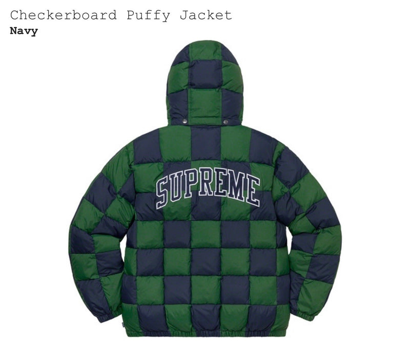 Checkerboard Puffy Jacket (Navy)