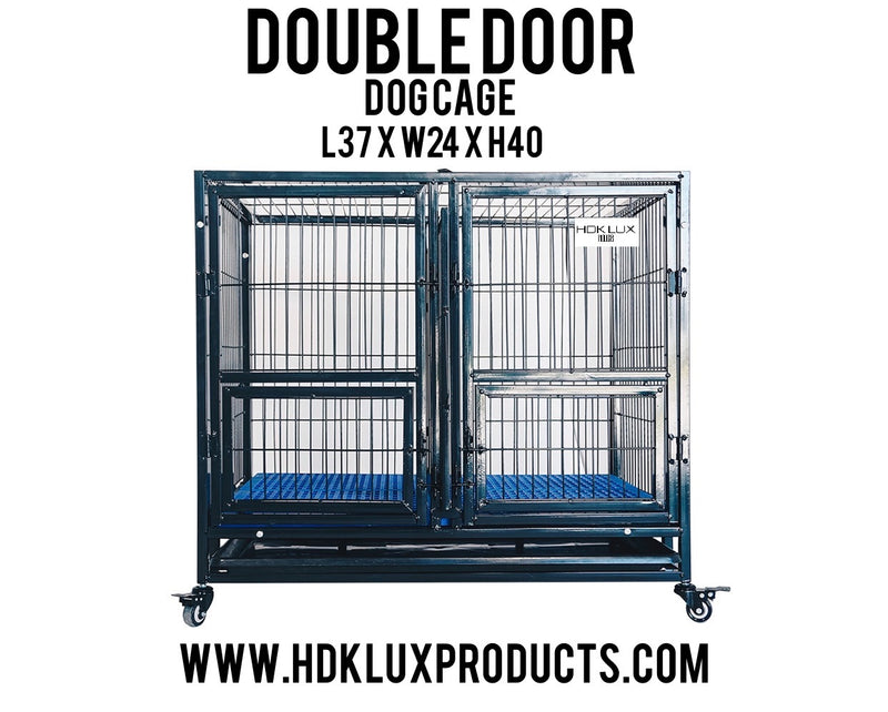 "37"" COLLAPSIBLE DOUBLE DOOR CAGE (BLACK) ** PRE ORDER ONLY"