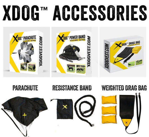 XDOG Complete Accessories Kit Includes Parachute, Weighted Drag Bag & Resistance Band