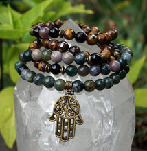 Load image into Gallery viewer, Prayer Beads with Hamsa Hand