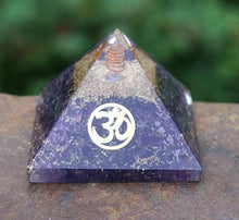 Load image into Gallery viewer, Amethyst with OM Orgone Pyramid