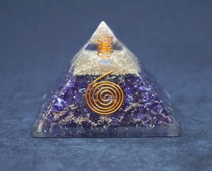 Amethyst with OM Orgone Pyramid