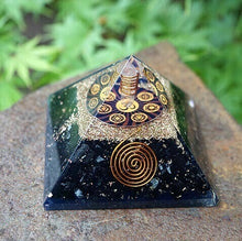 Load image into Gallery viewer, Black Tourmaline OM Orgone Pyramid
