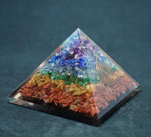 Load image into Gallery viewer, Chakra Gemstones Orgone Pyramid