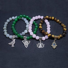 "Load image into Gallery viewer, ""Magic"" Yoga / Hamsa / Raven / Triquetra Charm Bracelet"