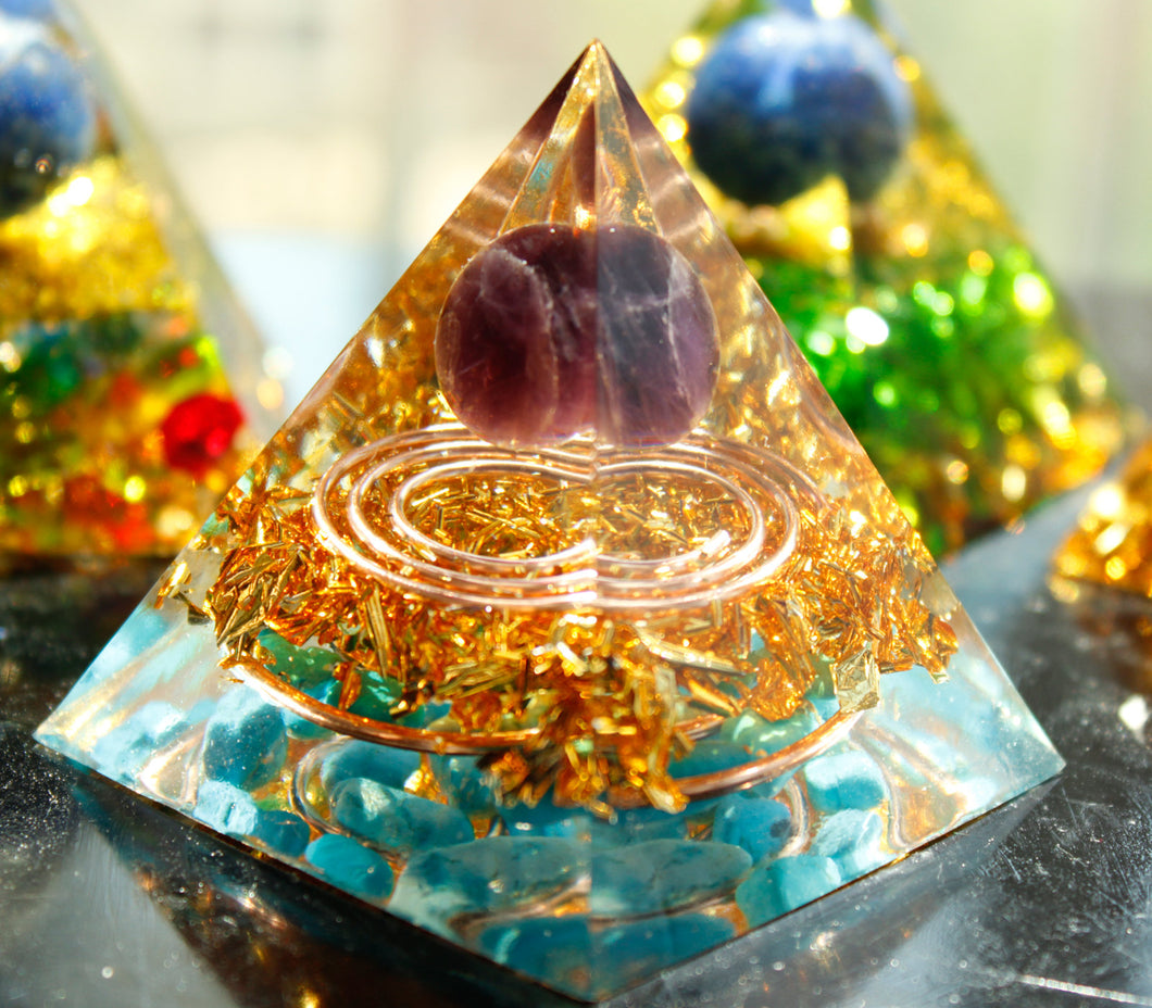 Double Energy Circle Amethyst Sphere & Turquoise Orgone Pyramid