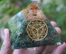 "Load image into Gallery viewer, ""Magic"" Green Aventurine Soul Star Orgone Pyramid"
