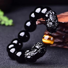 "Load image into Gallery viewer, ""Magic"" Wealth & Success Obsidiant-Tiger Eye Pixiu Bracelet"