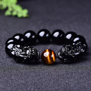 """Magic"" Wealth & Success Obsidiant-Tiger Eye Pixiu Bracelet"