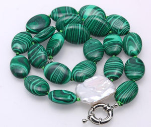 Green Malachite Necklace with Baroque Pearl Accent