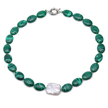Load image into Gallery viewer, Green Malachite Necklace with Baroque Pearl Accent